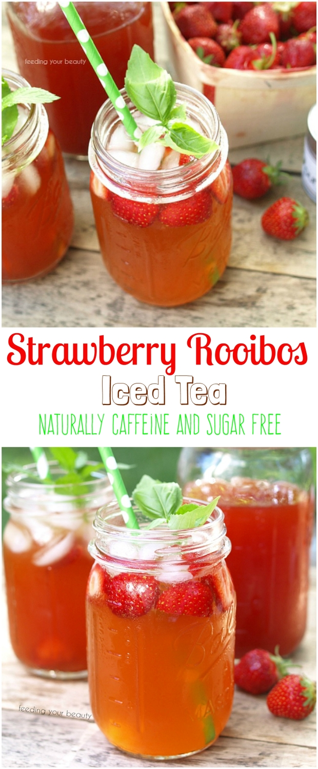 Beautifying Strawberry Rooibos Iced Tea - zero sugar or sweeteners, and naturally caffeine free