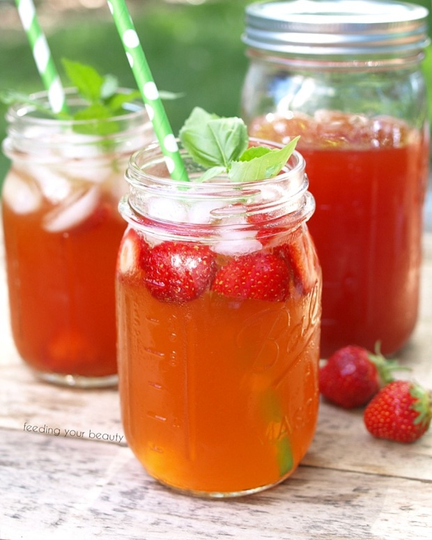 Strawberry Rooibos Iced Tea - Sugar Free and Naturally Caffeine Free