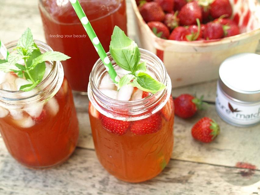 Strawberry Rooibos Iced Tea - Sugar Free and naturally caffeine Free