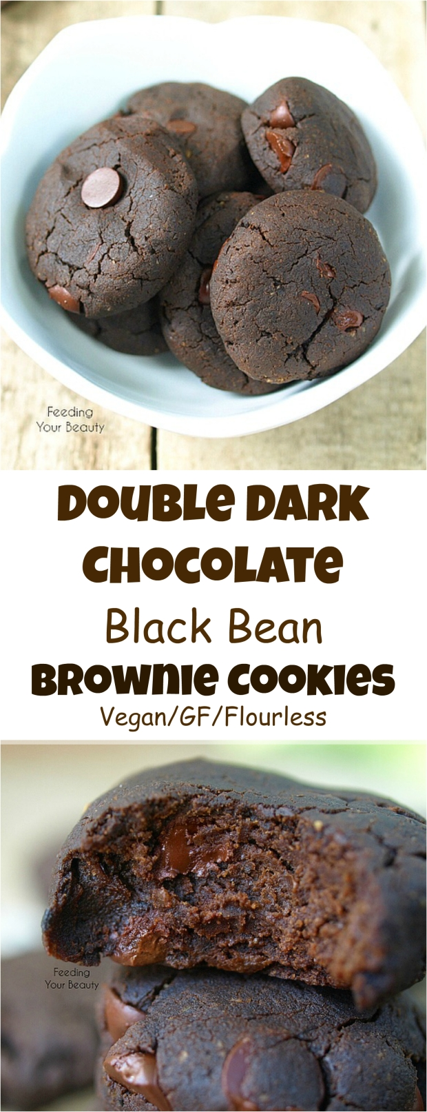 Double Dark Chocolate Black Bean Brownie Cookies - Vegan, Gluten Free, Flourless, Oil Free