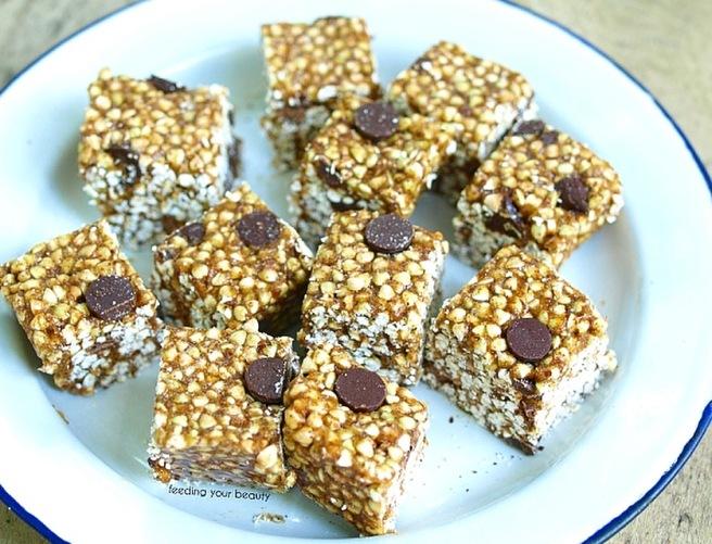 Buckwheat Crispy Treats - Vegan, Gluten Free, Oil free, Sugar Free