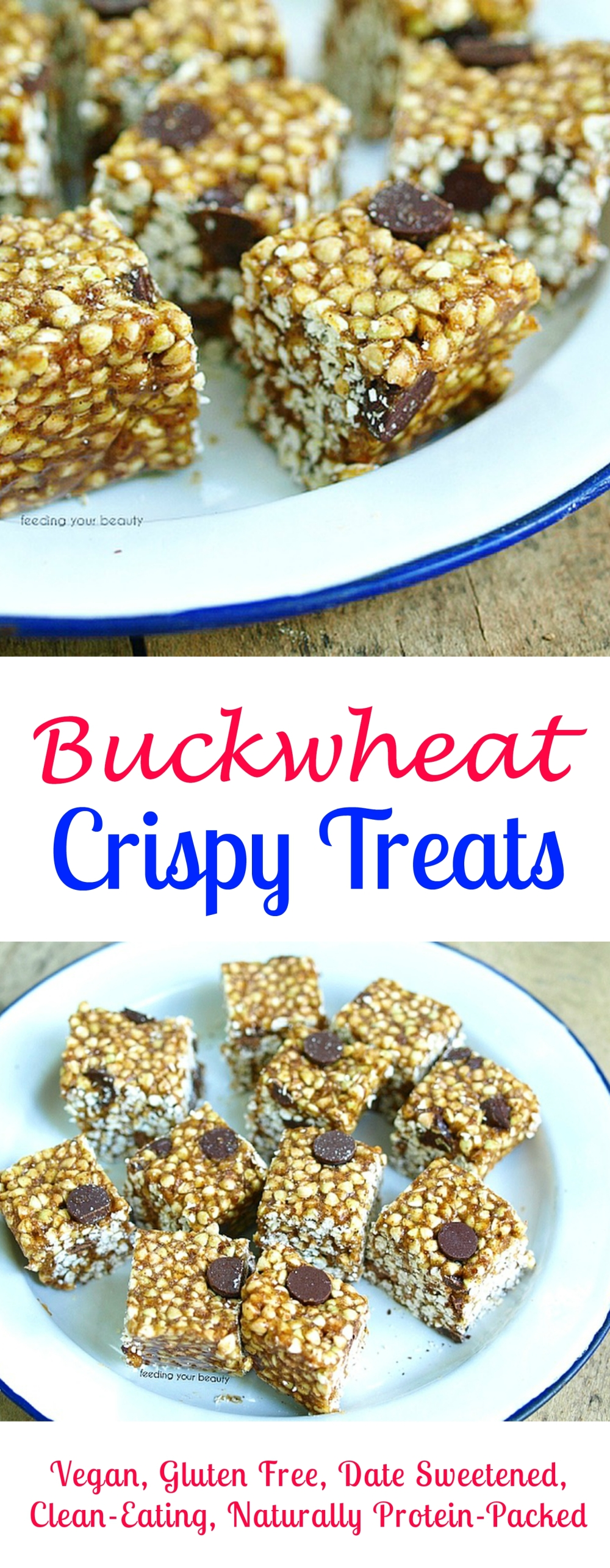 Buckwheat Crispy Treats - Vegan, Gluten Free, Date Sweetened, Clean Eating, Naturally Protein and Nutrient Packed, Nut Free Option!