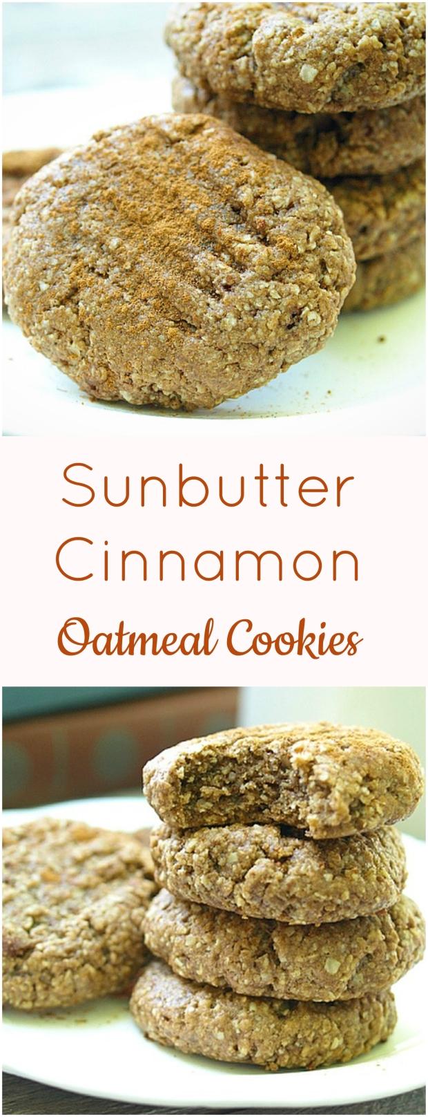 Sunbutter Cinnamon Oatmeal Cookies - Vegan, Gluten Free, Nut Free