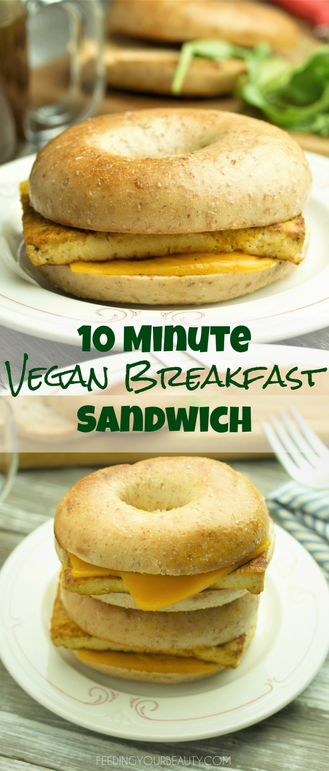 "10 Minute Vegan Breakfast Sandwich with Tofu ""Egg"" and Dairy Free Cheese. Super easy!"