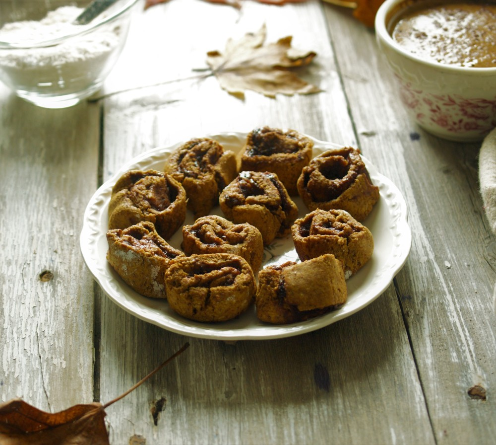Mini Pumpkin Cinnamon Rolls - Vegan, Gluten Free, Refined Sugar Free, Yeast Free, Easy
