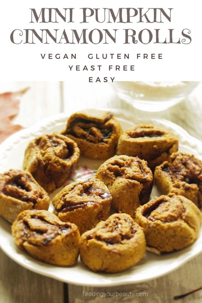 Mini Pumpkin CInnamon Rolls - vegan, yeast free, gluten free, refined sugar free, oil free, easy