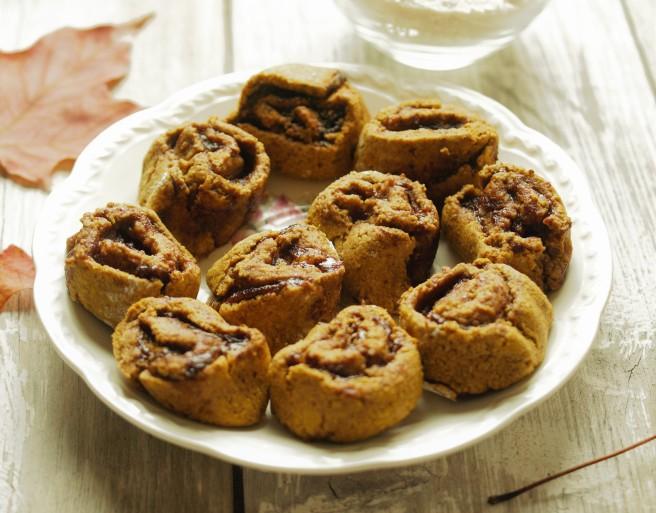 Mini Pumpkin Cinnamon Rolls - Vegan, Gluten Free, Yeast Free, Refined Sugar Free, Easy