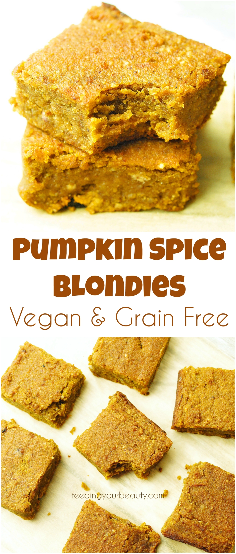 Pumpkin Spice Blondies - Vegan, Naturally Sweetened, Gluten Free, Oil Free, Grain Free