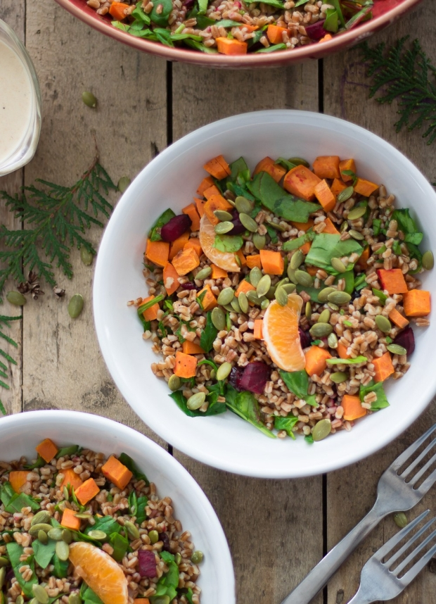 Winter Wheat Berry Salad - Whole Food, Plant based, Dairy Free, Nut Free, Vegan